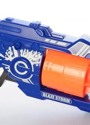 Детский пистолет бластер с присосками blaze storm синий 20 патронов