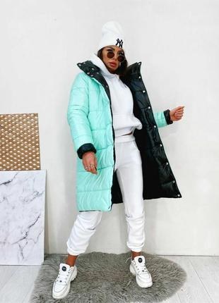 Пальто ( куртка - пуховик) тёплое зимнее, двухстороннее.