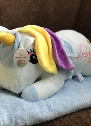 Плед + игрушка мягкая + подушка детская единорог