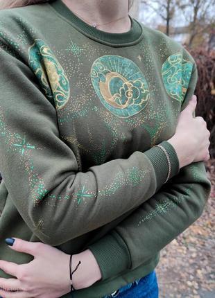 Кастомний женский укороченный свитшот цвета светлый хаки