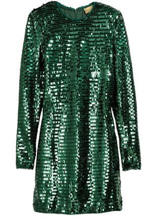 🔥скидка🔥 платье в пайетках зеленое h&m праздничное
