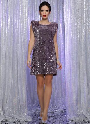 Вечернее нарядное платье в пайетки короткое на новый год корпоратив новогоднее праздничное
