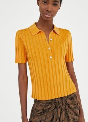 Укороченная вязаная рубашка-поло в рубчик zara
