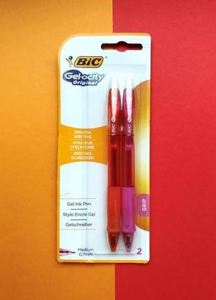 Набор из 2 цветных ручек bic gel-ocity - оранжевая+розовая для комфортного письма