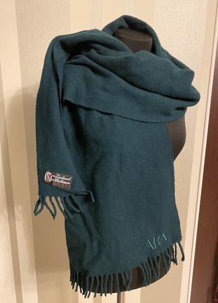 Классный большой шарф темно зелёный «бутылочный « шерсть+кашемир