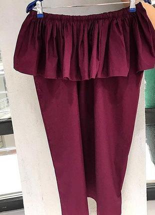 Новое платье волан оборки рюши бордовое марсала