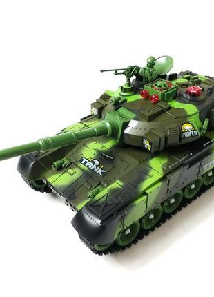 Боевой детский танк большой на радиоуправлении пульте зелёная 55см war tank 1:8