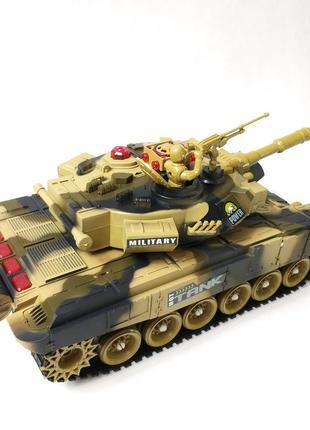 Боевой детский танк большой на радиоуправлении пульте хаки 55см war tank 1:8