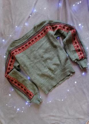 Свитер красивый зелёный пуловер красивый принт с