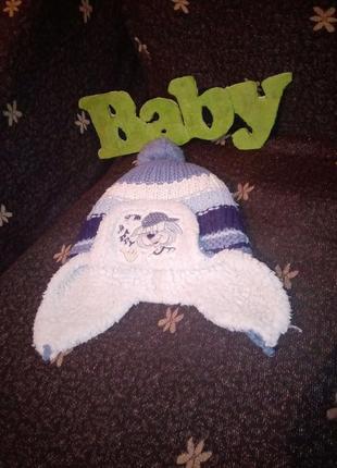 Тёплая зимняя шапка на овчине вязанная шапка