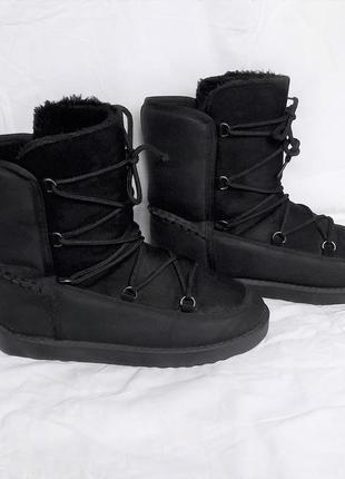 Черные угги ботинки сапоги