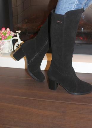 Сапоги женские зимние черные на каблуке натуральная замша с8280