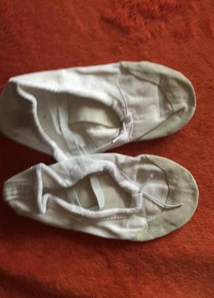 Балетки чешки белые для танцев гимнастики хореографии с кожаным носком3 фото