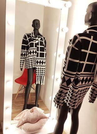Необычный  кофта джемпер свитер в мега актуальную гусиную лапку клетку 🖤🤍