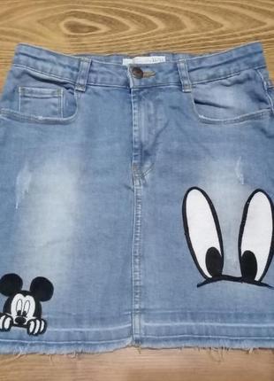 Стильная джинсовая юбка zara kids disney