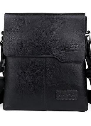 Барсетка сумка мужская черная jeep через плечо