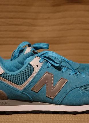 Фирменные комбинированные кроссовки бирюзового цвета new balance 574  39 р.