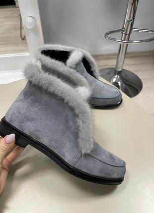 Lux обувь! шикарные натуральные лоферы зимние с норкой