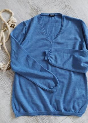 Пуловер женский с v-вырезом от walbusch 100%мериносовая шерсть- l