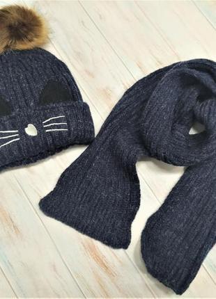 Детский стильный теплый зимний набор шапка с хомутом