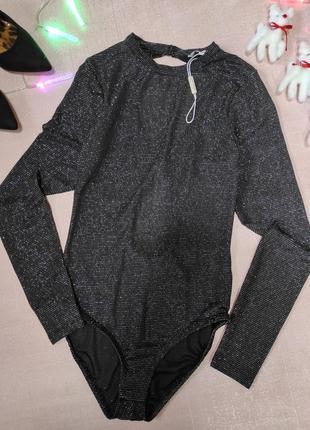 Блестящее нарядное боди блуза люрексовая нить