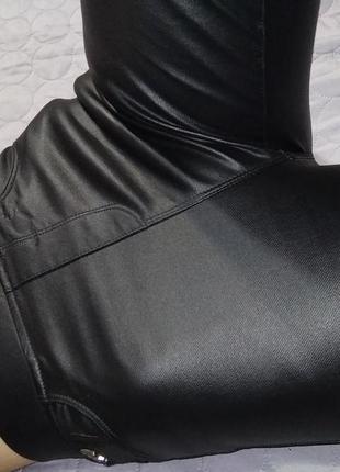 Прочные тянутся штаны легинсы матовая кожа флис-m l