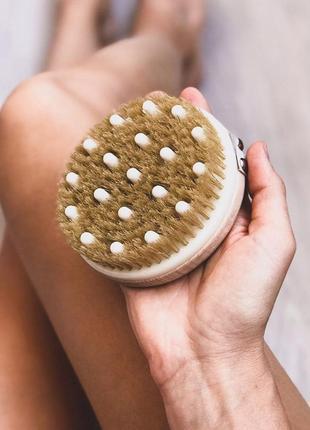 Щетка комбинированная с узлами для массажа тела, hydrea london3 фото