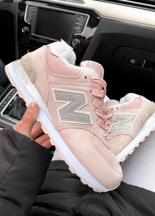 Зимние кроссовки new balance 574 pink/silver #art0541