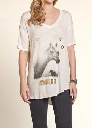 Hollister футболка удлиненная туника под лосины хs холлистер оригинал лошадь лошади