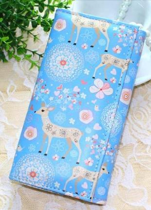 Новый очень красивый длинный вместительный большой кошелек на кнопке клатч с оленями