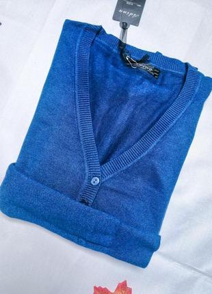 Кофта кардиган женский кашемировый синий на пуговицах размер l/xl
