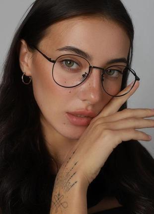 Качественные имиджевые очки светлые прозрачные черные окуляри