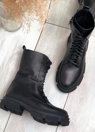 Стильная новинка женские ботинки кожа
