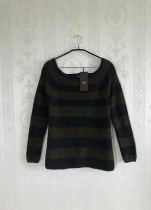 Тёплый крутой свитер only 3% шерсть,3% мохер в полоску кофта реглан!