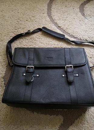 John henric кожанная сумка/портфель