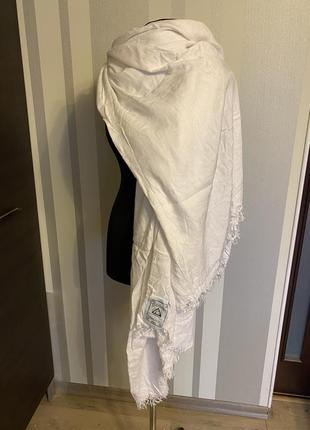 Шикарный огромный белый шарф палантин тонкий кашемир