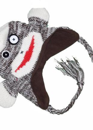 Теплая шапка забавная обезьянка, 8-12 лет