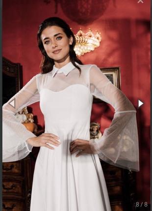 Платье белое вечернее или свадебное с воротником и рукавами из сетки vovk