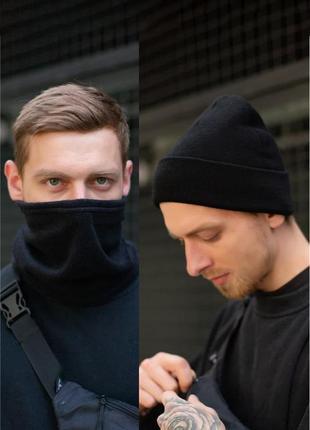 Зимний черный комплект, шапка и баф without