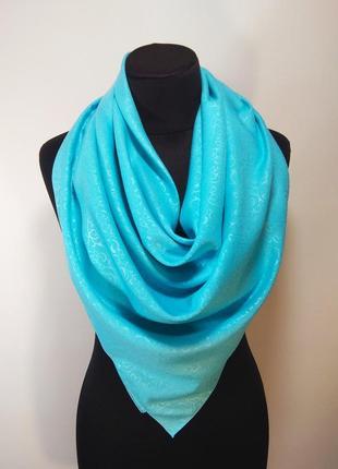 Платок шерсть шерстяной однотонный голубой теплый тонкий новый качественный
