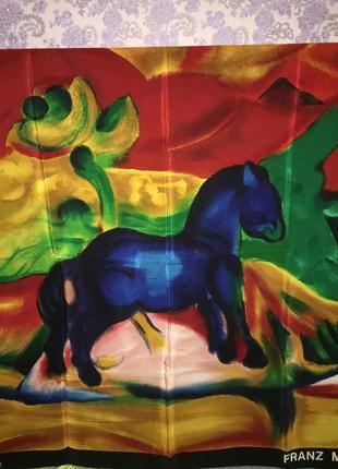 Платок шелковый  винтаж маленькая синяя лошадь франц марк