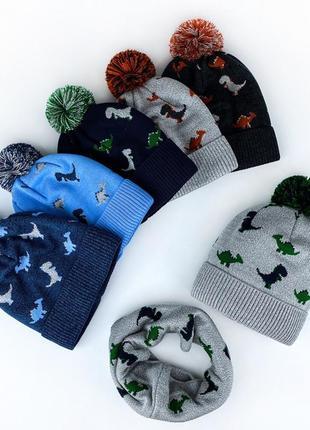Комплект шапка + шарф с динозаврами зима ❄️ на флисе