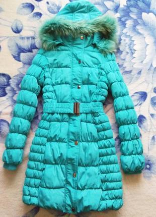 Зимняя куртка, пальто ярко-бирюзовая, xs-s