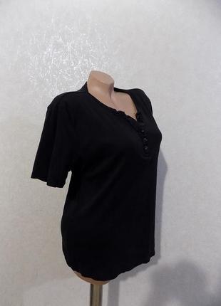 Футболка поло с пуговицами на груди черная фирменная charles vogele размер 50-52