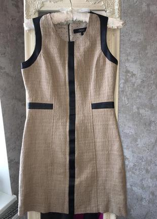 Платье  из мешковины со вставками эко-кожи  большого размера next