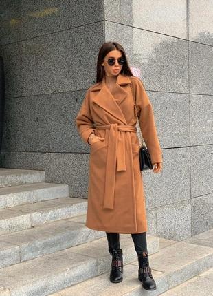 Утеплённое кашемировое пальто