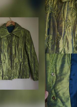 Шикарная шелковая куртка утепленная натуральный японский шелк р.8-10-12 хамелеон.