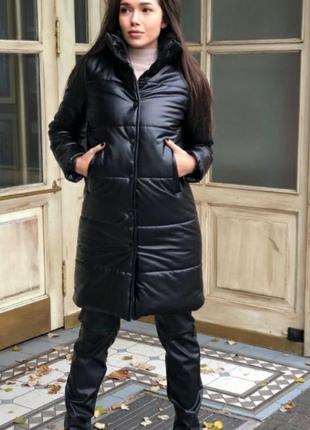 Зимнее пальто эко кожа