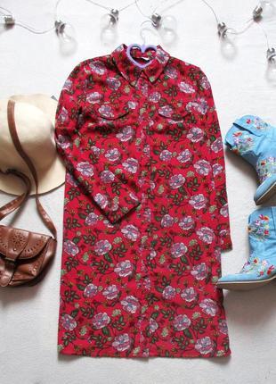 Платье - рубашка в цветочный принт, размер 38(10)