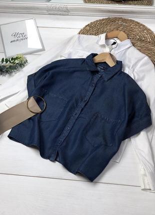 Крутая укороченная джинсовая рубашка zara